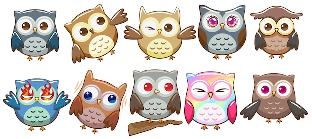 Hibou vector set clipart