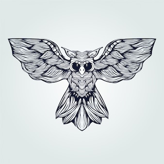 Hibou volant ligne art tatouage en couleur bleu foncé