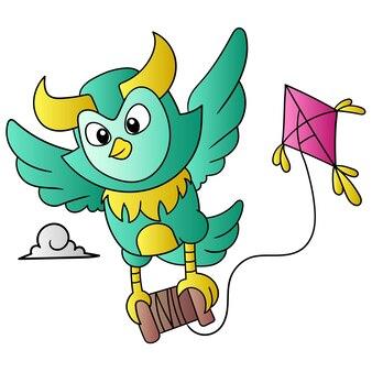 Le hibou a volé dans le ciel portant le cerf-volant dans le ciel, art d'illustration vectorielle. doodle icône image kawaii.