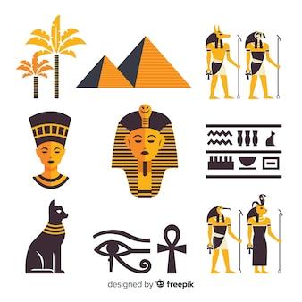 Hiéroglyphes d'égypte et collection d'éléments de dieux