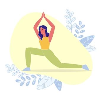 High crescent lunge pose flat vector illustration