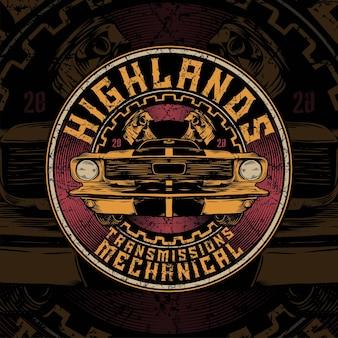 Highland mécanique de voiture vintage avec cercle et fond de piston