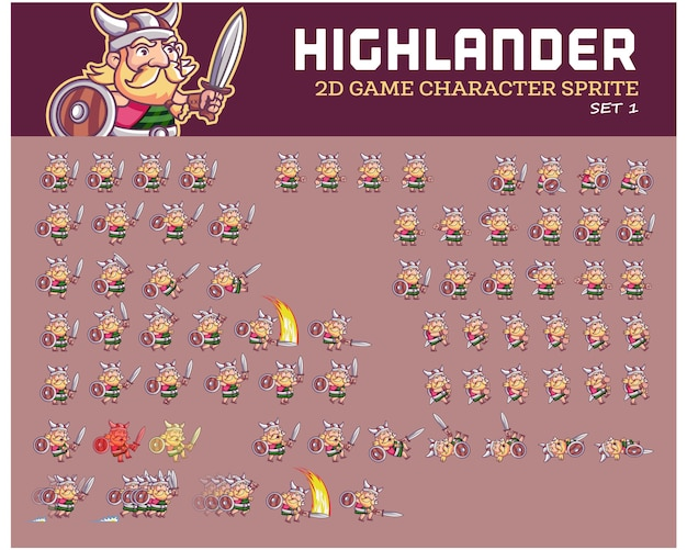 Highlander warrior cartoon game animation sprite