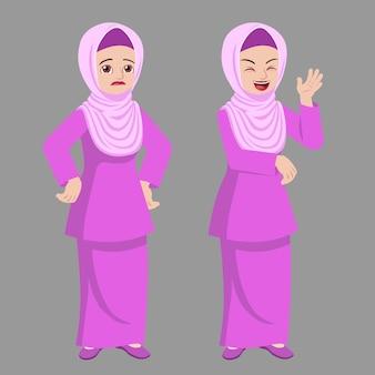 Hijab dame debout pose avec deux réactions d'humeur différentes
