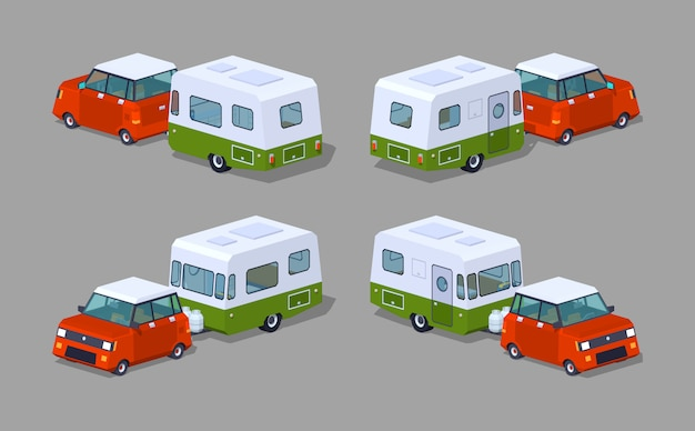 Hipback rouge basse poly avec camping-car vert-blanc