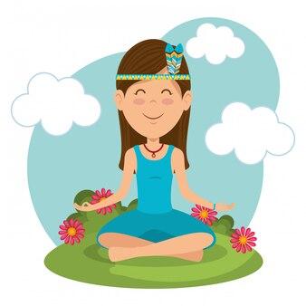 Hippie femme en posture de lotus