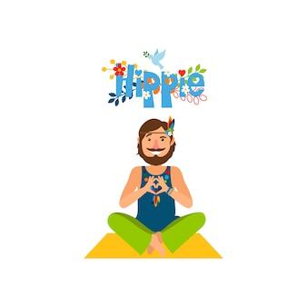 Hippie homme aux pieds nus assis