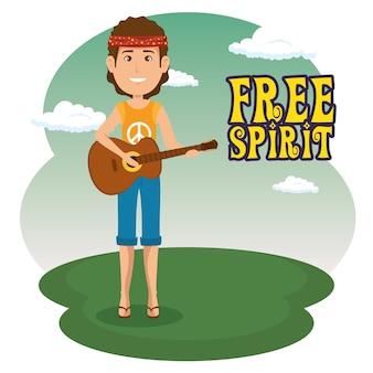 Hippie homme avec un dessin animé de guitare
