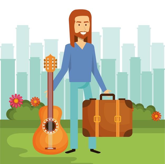 Hippie homme tenant une guitare et une valise avec le fond de la ville skyline. illustration vectorielle
