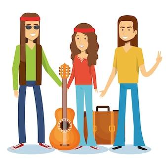 Hippie hommes avec guitare et fille avec valise sur fond blanc. illustration vectorielle