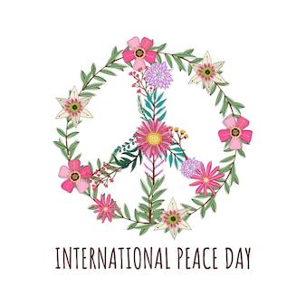 Hippie imprimer avec symbole de fleur de la paix