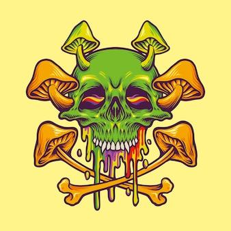 Hippie psychédélique de champignons magiques de crâne de sucre