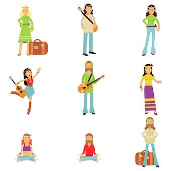 Hippies vêtus de vêtements de sous-culture hippie classique de woodstock des années soixante. ensemble plat