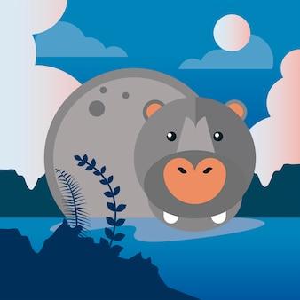 Hippo animal sauvage dans le caractère de la nature de la rivière