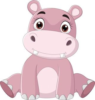 Hippo bébé heureux dessin animé assis