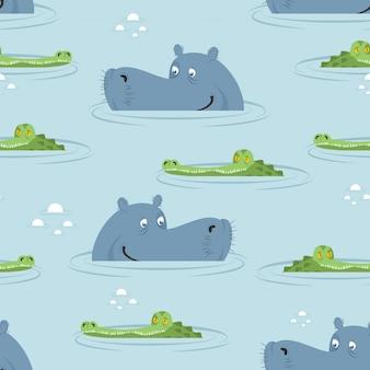 Hippo et crocodile dans le modèle sans couture de l'eau. bon hippopotame et alligator
