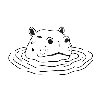 Hippo dans le dessin de l'eau