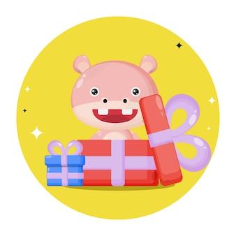 Hippo dans le logo de personnage mignon cadeau