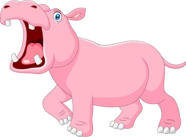 Hippo de dessin animé avec la bouche ouverte