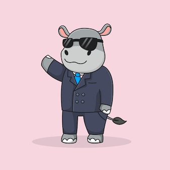 Hippo détective mignon avec costume et lunettes