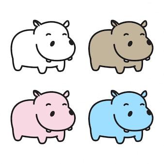 Hippo hippopotame dessin animé icône