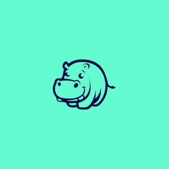 Hippo logo unique concepts minimaliste abstrait