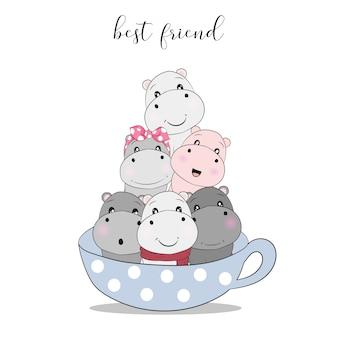 Hippo mignon de bande dessinée dans la tasse de thé