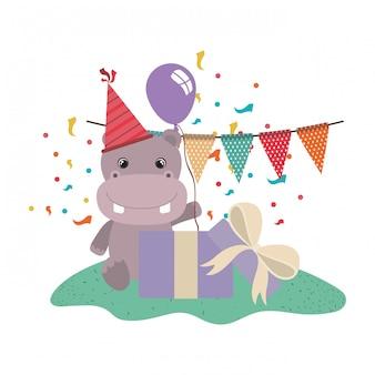 Hippo mignon avec boîte-cadeau