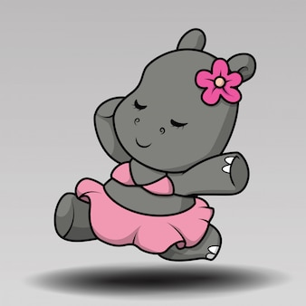 Hippo mignon dans la conception d'illustration vectorielle de camp