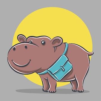 Hippo mignon avec illustration d & # 39; icône de dessin animé de sac d & # 39; école