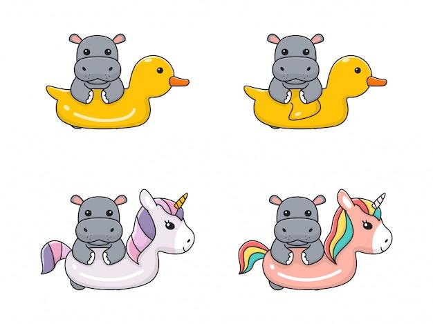 Hippo mignon avec licorne et canard nager