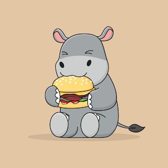 Hippo mignon mangeant un hamburger