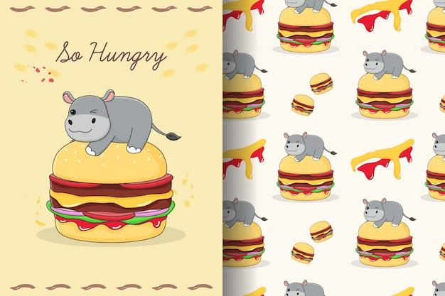 Hippo mignon sur le modèle sans couture de burger et la carte