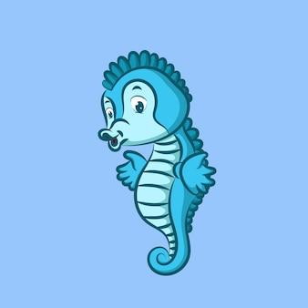 Hippocampe de couleur bleue posant avec une bonne expression