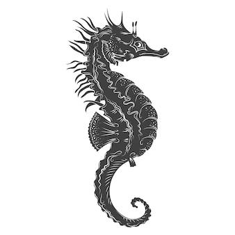 Hippocampe dessiné à la main