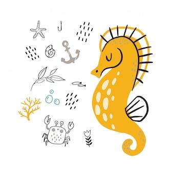 Hippocampe jaune doodle pour enfantin.