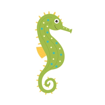 Hippocampe vert-jaune drôle