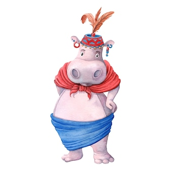 Hippopotame africain en costume traditionnel masai tribu.