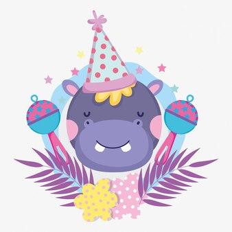 Hippopotame avec chapeau de fête et hochets pour le shower de bébé