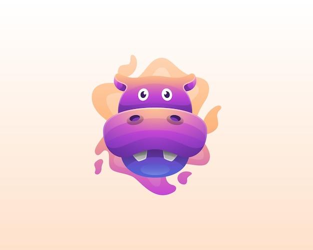 Hippopotame coloré avec logo liquide splash
