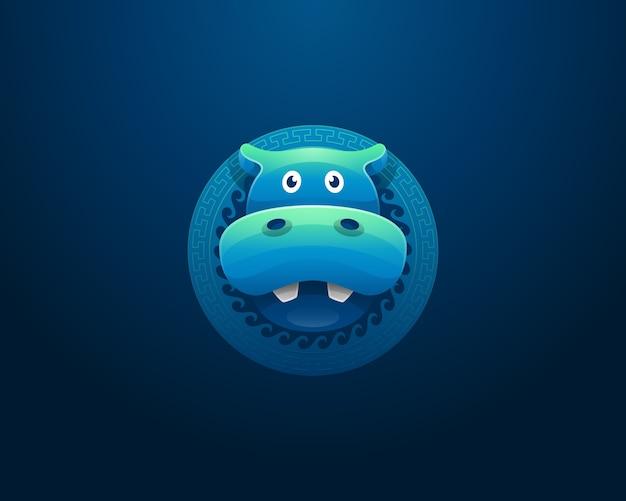 Hippopotame coloré avec logo ornement