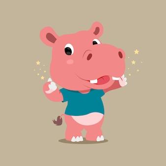 Hippopotame avec expression heureuse avec mousseux