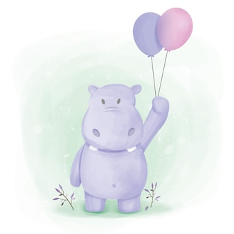 Hippopotame held balloon illustration à l'aquarelle