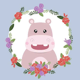 Hippopotame mignon animal dessiné à la main doodle