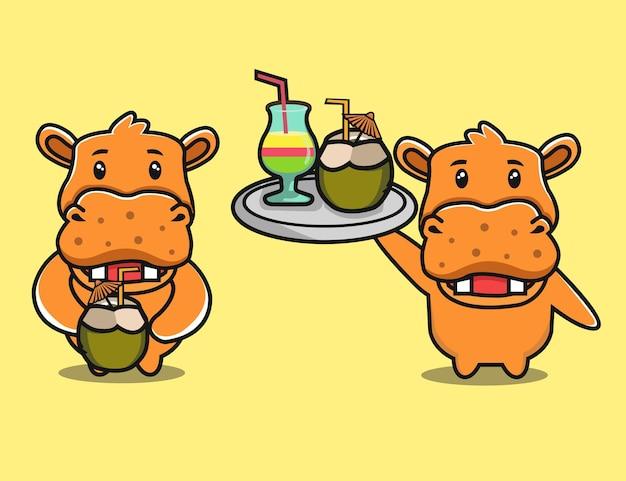 Hippopotame mignon buvant un dessin animé de noix de coco