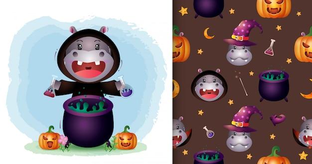Un hippopotame mignon avec une collection de personnages halloween costume de sorcière. modèles sans couture et illustrations