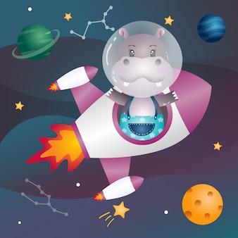 Un hippopotame mignon dans la galaxie spatiale