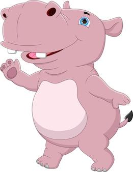 Hippopotame mignon de dessin animé sur fond blanc