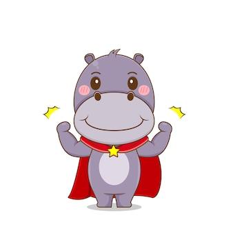 Hippopotame mignon fort comme personnage de super-héros