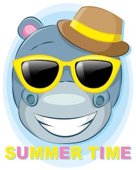 Hippopotame mignon avec illustration de dessin animé chapeau et lunettes d'été pour les vacances d'été